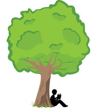 Silhouette of boy sitting under a tree