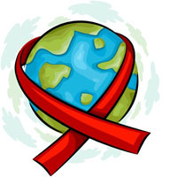 Red ribbon wrapped around a globe