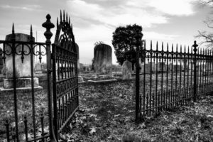 Black and white photo of graveyard